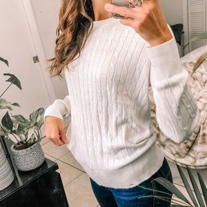 Simple ivory thin cable knit pullover